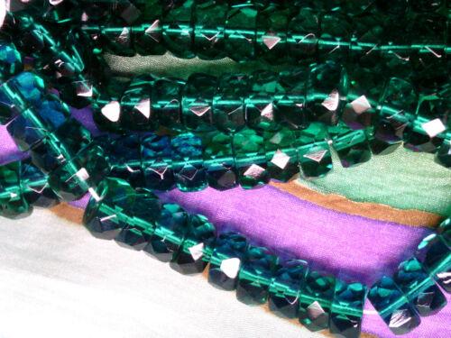 Vtg 50 8mm EMERALD GREEN RONDELLE FACETED GLASS BEADS GEM end of stock #052311d
