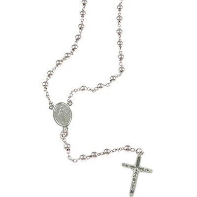Fully Hallmarked with Miraculous Medal Junction Sterling Silver Rosary Beads