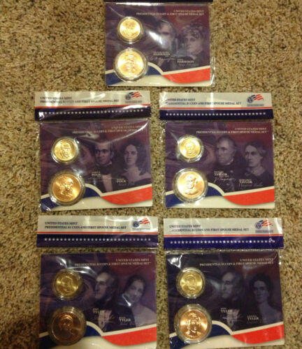 ALL 5 2009 PRESIDENTIAL $1 DOLLAR COIN /& FIRST SPOUSE MINT MEDAL SETS COMPLETE