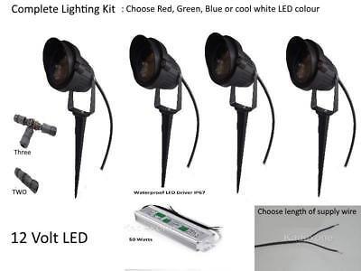 Complete Kit 4 x 12v volt 3W LED IP65 outdoor garden spot light spike Driver