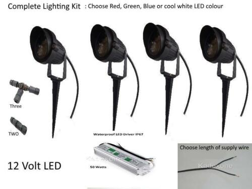 Complete Kit 4 x 12v volt 3W LED IP65 outdoor garden spot light spike Driver