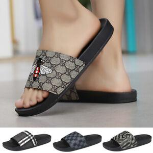 2021 New Bee Men's Slip On Sliders Shoes Slippers Pool Flat Sandals Flip Flops