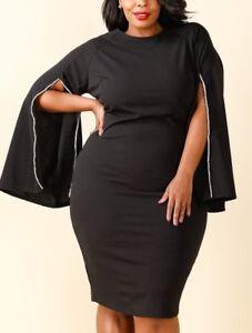 Image is loading Plus-Women-Black-Crystal-Slit-Kimono-Bell-Sleeve- 0771b0b822