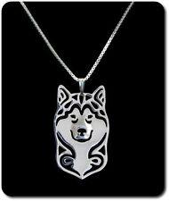 Halskette Set Kette + Anhänger Hunde Hund Kopf Versilbert Siberian Husky Wolf