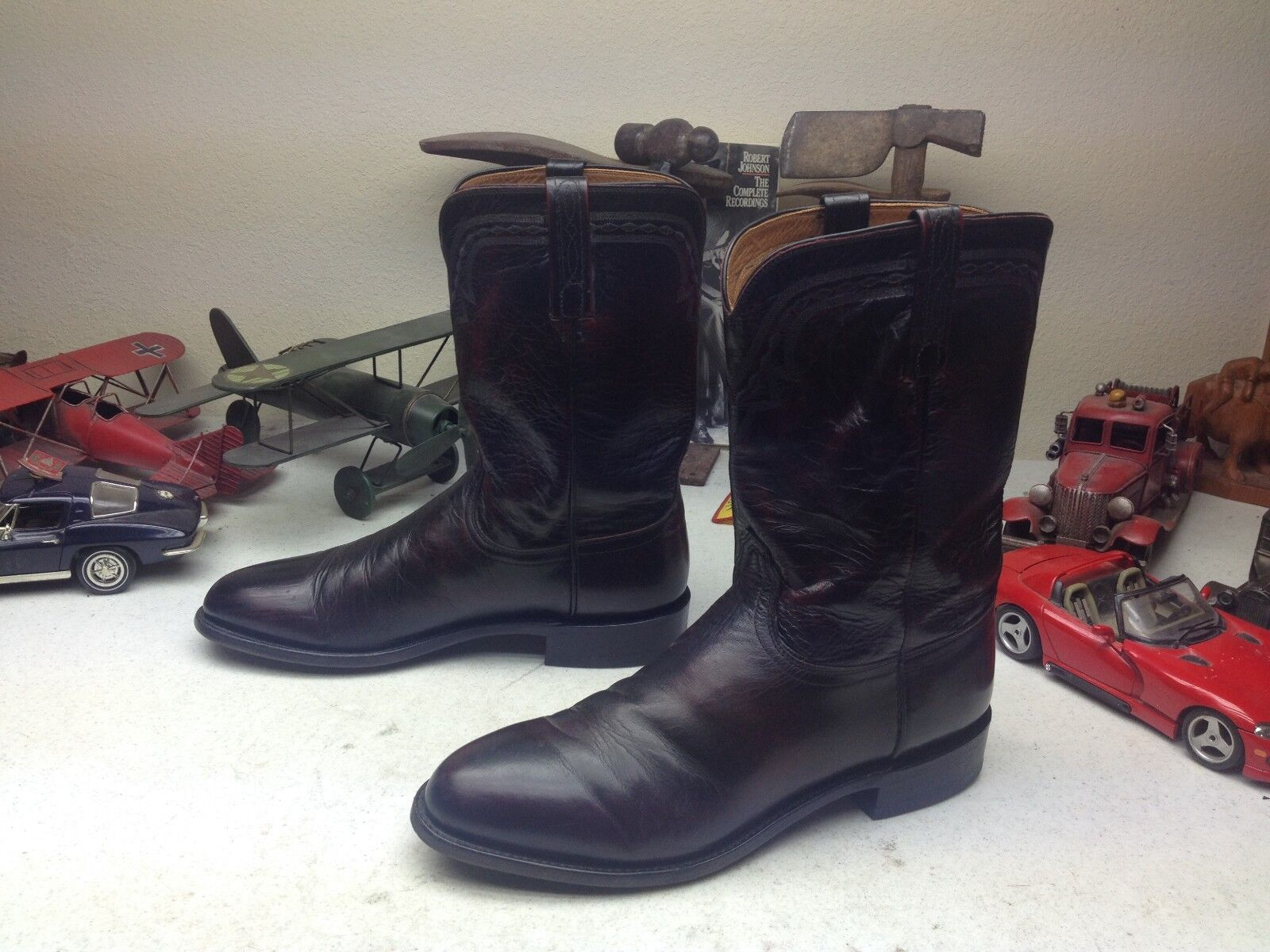 LUCCHESE USA schwarz CHERRY BRUSHOFF LEATHER ENGINEER TRAIL BOSS COWBOY Stiefel 11D