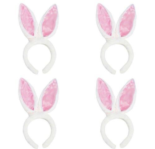 Halloween Costume Easter Egg Basket Toy 4 Pack White Fluffy Bunny Rabbit Ears