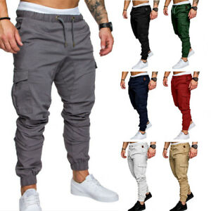 Men-039-s-Slim-Fit-Urban-Straight-Leg-Trousers-Casual-Pencil-Jogger-Cargo-Pants-Cl