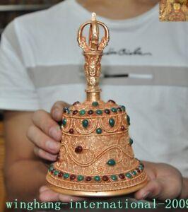 Tibetan-temple-Tibet-silver-Filigree-inlay-jade-gem-Tara-Buddha-head-Bell-Zhong