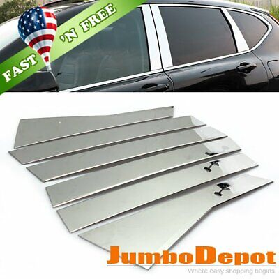 Chrome Steel Middle Pillar Window Exterior Cover Trim For Toyota Camry 2012-2016