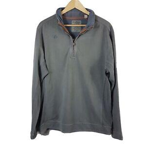 Tommy Bahama Herren 1/4 Zip Neck Pullover Größe L langarm grau Stretch