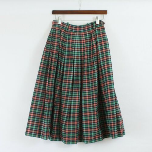 Vintage 50s Plaid Circle Skirt Red Green White Bla