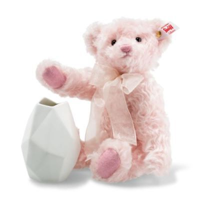 006760 Rose Teddy Bear With Rosenthal Vase Mohair Limited Edition By Steiff