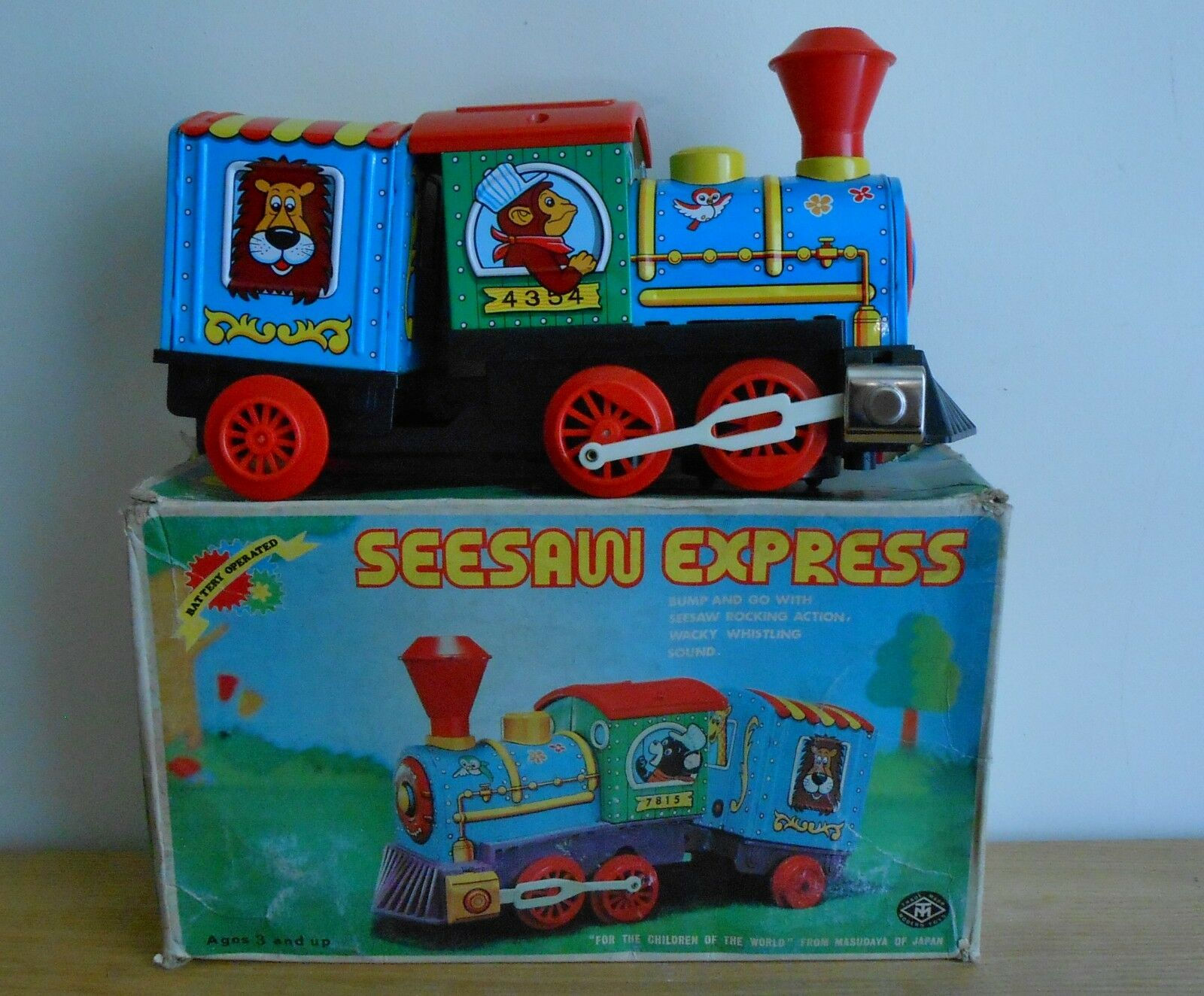 SEESAW EXPRESS  Vintage Battery Operated Tin Toy  Japanese  Boxed