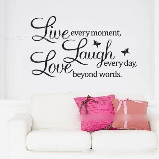 """Live Laugh Love"" English Words Butterflies Wall Sticker Home Decor Decal Mural"