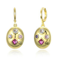 5 Stone Swarovski Drop Earrings in 18K Gold Filled with Swarovski Crystals