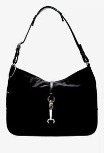 Coach-Black-Nylon-Silver-Tone-Hardware-Small-Handbag-Purse-Hobo-Purse-EUC