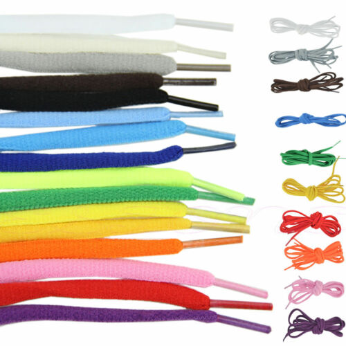 Shoe laces coloured pair of shoelaces Oval semi round laces for trainers boots