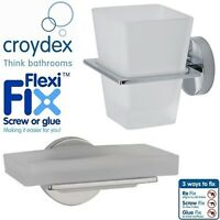 Croydex Bathroom Toilet Accessory Glass Soap Dish Toothbrush Tumbler Holder Set