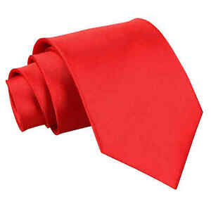Red-Mens-Extra-Long-Tie-Satin-Plain-Solid-Formal-Wedding-Necktie-by-DQT