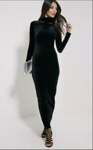 Demoo-Parkchoonmoo-long-Sleev-High-Neck-velvet-Black-dress-Size-XS