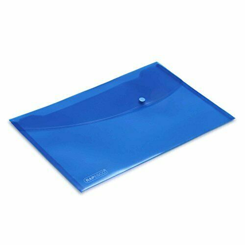 Rapesco 0687 Transparente Dokumentenmappe mit Druckknopf A4 blau  5er Pack
