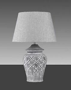 Tischleuchte-H66cm-43cm-Vasenlampe-Tischlampe-Hockerlampe-Hockerleuchte-grau