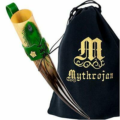 Mythrojan Wolf Drinking Horn Authentic Medieval Inspired Viking Wine//Mead 400 ML Polished Finish