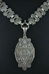 Superb antique Victorian English Silver Lockett & book chain
