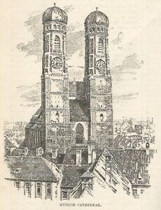 TempéRé C2007 Germany - Munich - Cathedral - Xilografia D'epoca - 1920 Old Engraving à Distribuer Partout Dans Le Monde