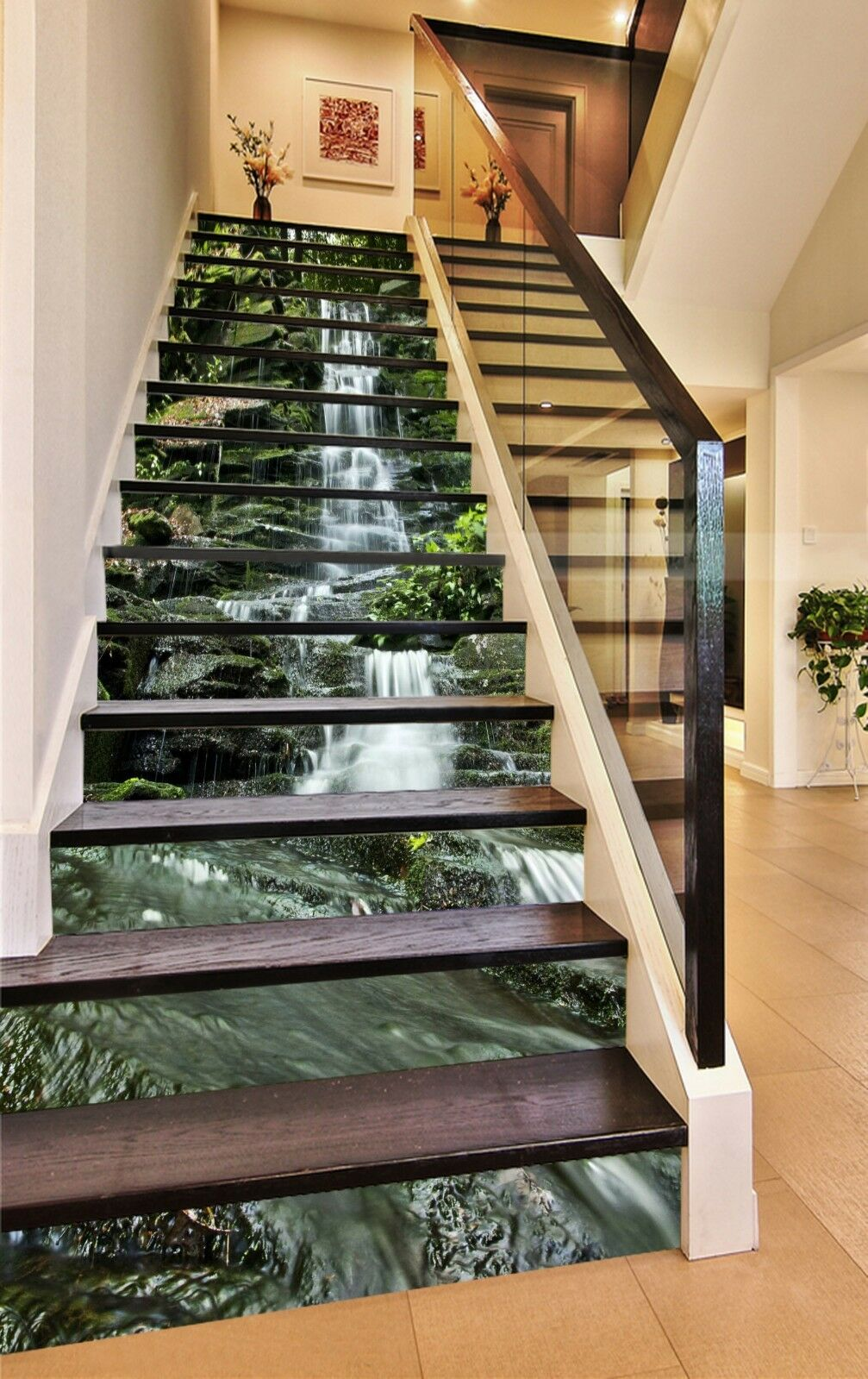 3D Flowing stone 7 Stair Risers Decoration Photo Mural Vinyl Decal Wallpaper UK