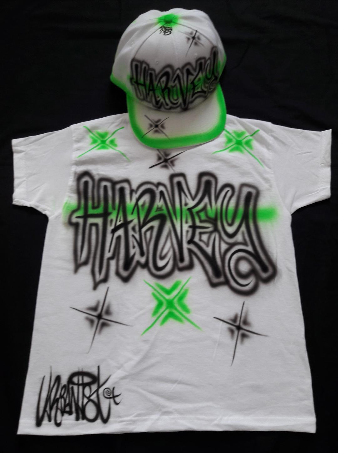 Urbanist custom graffiti Airbrushed Hip Hop Street Dance Snapback kids Tee & Cap