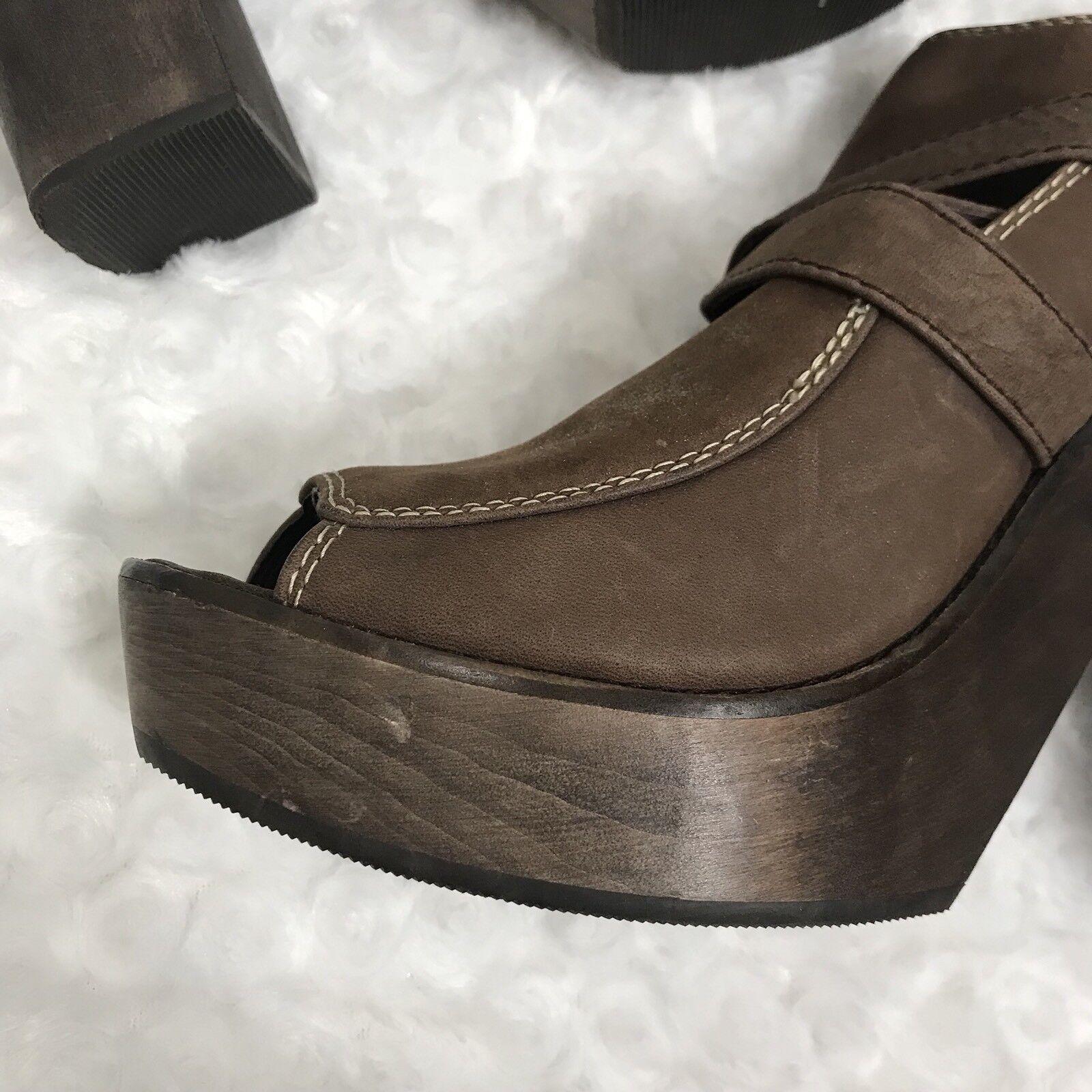 Joie Joie Joie 39.5 9.5 Rare Peep Toe Leather Wooden Platform Ankle Stiefel Stiefelie Clog Heel 51225f