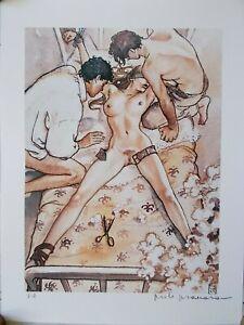 "Milo Manara  ( Art Print ) "" Le Trio ""  Epreuve d'Artiste + Belle Signature"