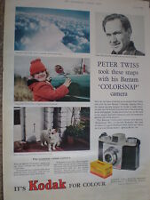 Peter Twiss uses Kodak with his Bantam Colorsnap camera 1958 old advert
