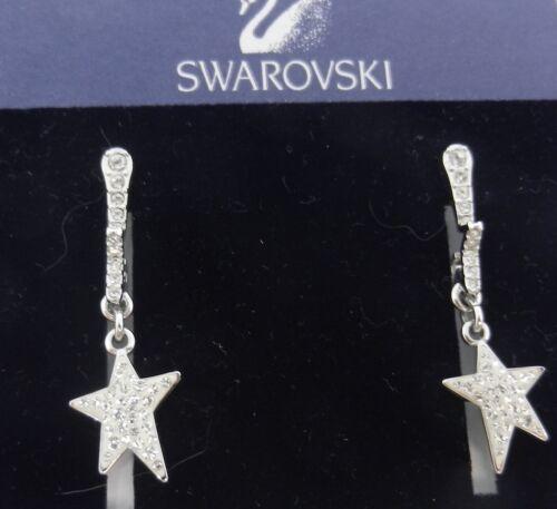 Signed Swarovski Flicker Star Earrings Dangle 973… - image 1