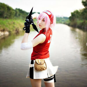 NARUTO Haruno Sakura 2nd Women s Anime Cosplay Costume Skirt dress + ... 59e304a5bc