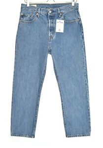 Damen-Levis-501-Straight-Leg-Blau-Premium-Qualitaets-Cropped-Jeans-10-w28-l26