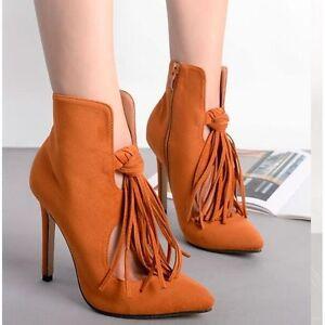 c60295b7f5d25 La imagen se está cargando Botines-botas-verano-beige-flecos-fashion-tacon -de-
