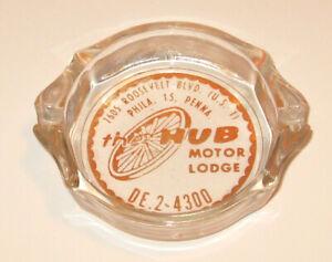 "Vintage THE HUB MOTOR LODGE 3.5"" Round Glass ASHTRAY - Philadelphia, PA"