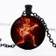 Commerce de Gros Guitare Crâne Flame Photo dôme en verre noir chaîne collier pendentif