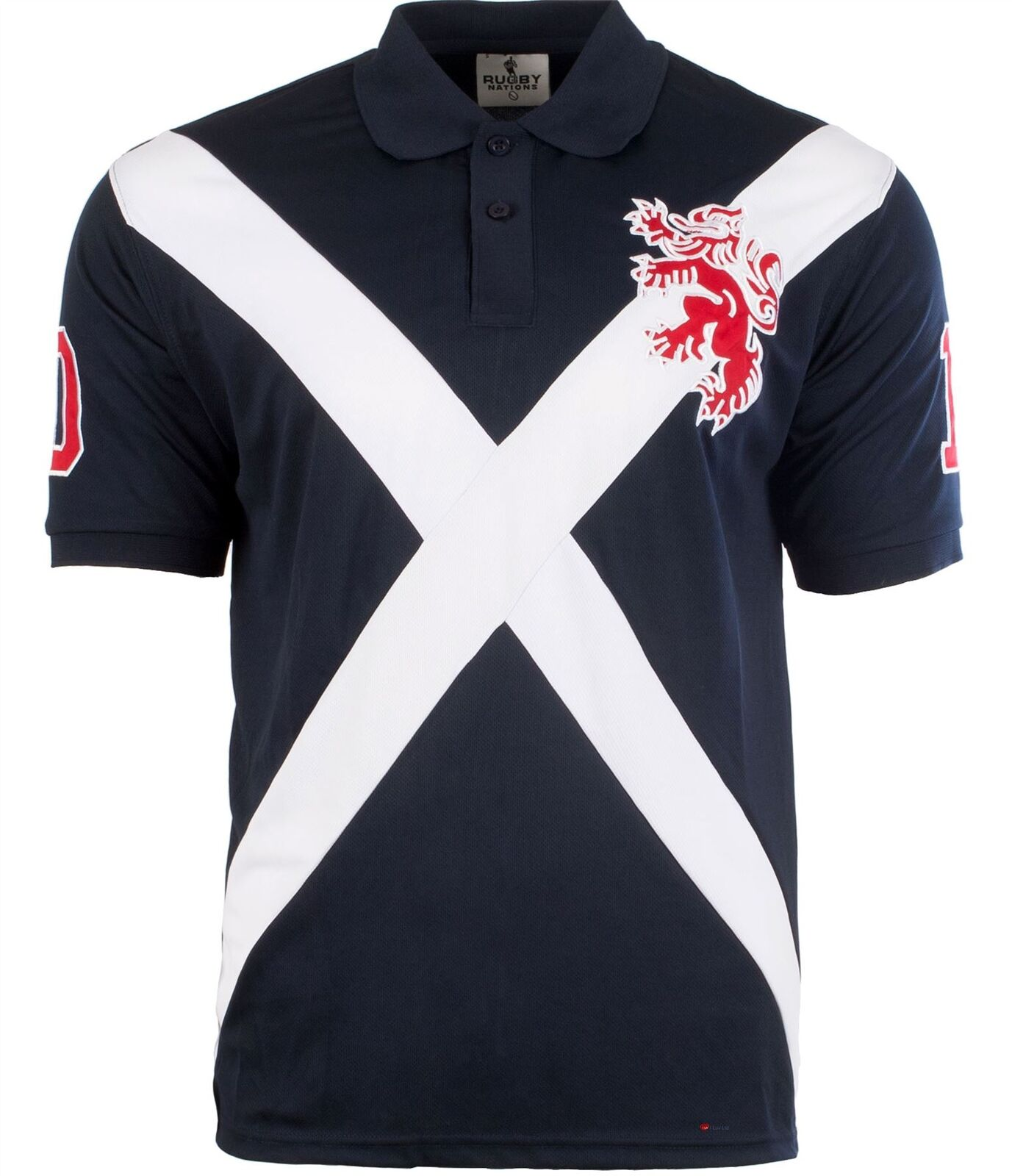 Gents Polo Shirt Saltire Scotland With Rampant Lion Design Navy bluee Mens Large