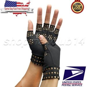 Arthritis-Gloves-Fingerless-Copper-Compression-Medical-Support-Therapeutic-US