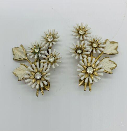 Coro Vintage Rhinestone Clip On Earrings AB Crysta