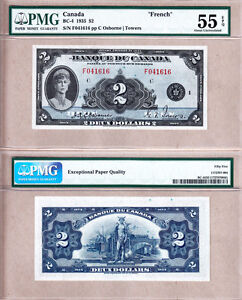 PMG-AU55-EPQ-BC-4-1935-2-Queen-Mary-Scarcer-French-Variety-Banque-Du-Canada