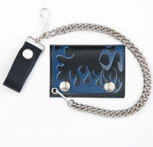 Motorcycle American Made Mens Biker Leather Blue Flames Chain Wallet Tri-Fold