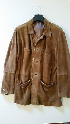 Dettagli su Giubbino giacca in pelle di renna primaverile con allacciatura a bottoni fodera