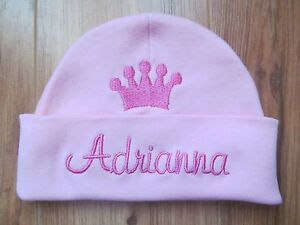 PERSONALIZED MONOGRAM CUSTOM Baby Newborn Hospital Hat Cap Beanie Princess Crown