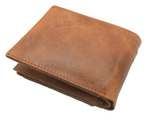 Genuine Handcrafted Leather Men/'s Trifold Wallet Flap Top Gift Box Black Brown
