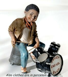 Statua in porcellana di ragazzo batterista Statuina musicista Jazz sopramobile