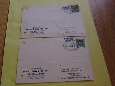 2 Geschäftspostkarten An Bildhauer August Weicker Aus Obereichstett,1954, Bahn-o